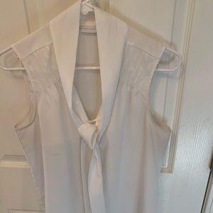 NY & COMPANY white blouse with neck tie